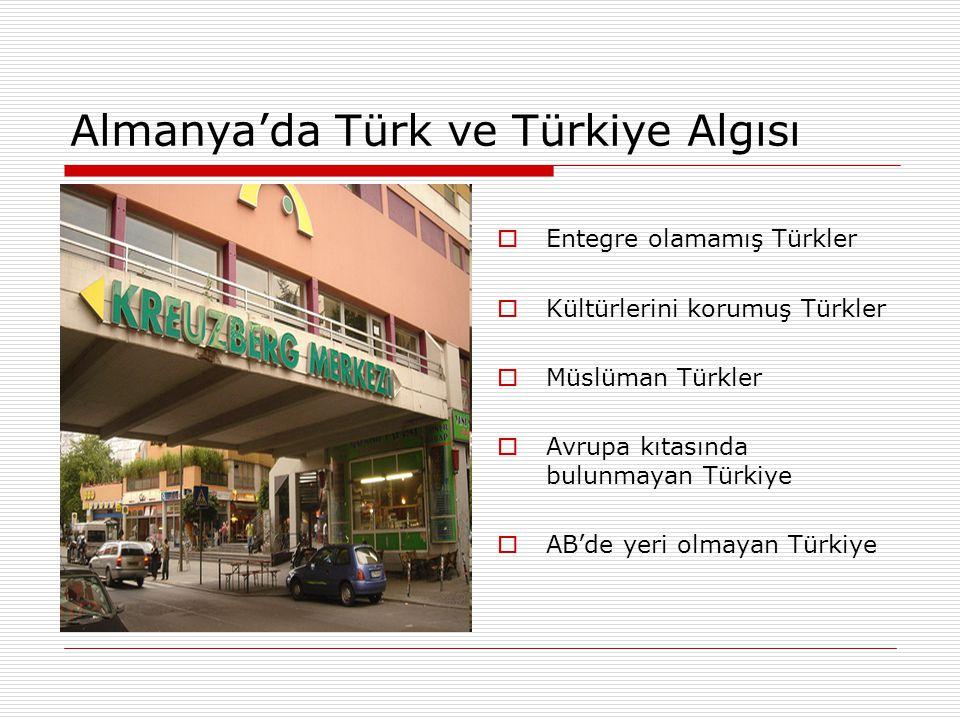 Almanya'da Türk ve Türkiye Algısı  Entegre olamamış Türkler  Kültürlerini korumuş Türkler  Müslüman Türkler  Avrupa kıtasında bulunmayan Türkiye  AB'de yeri olmayan Türkiye