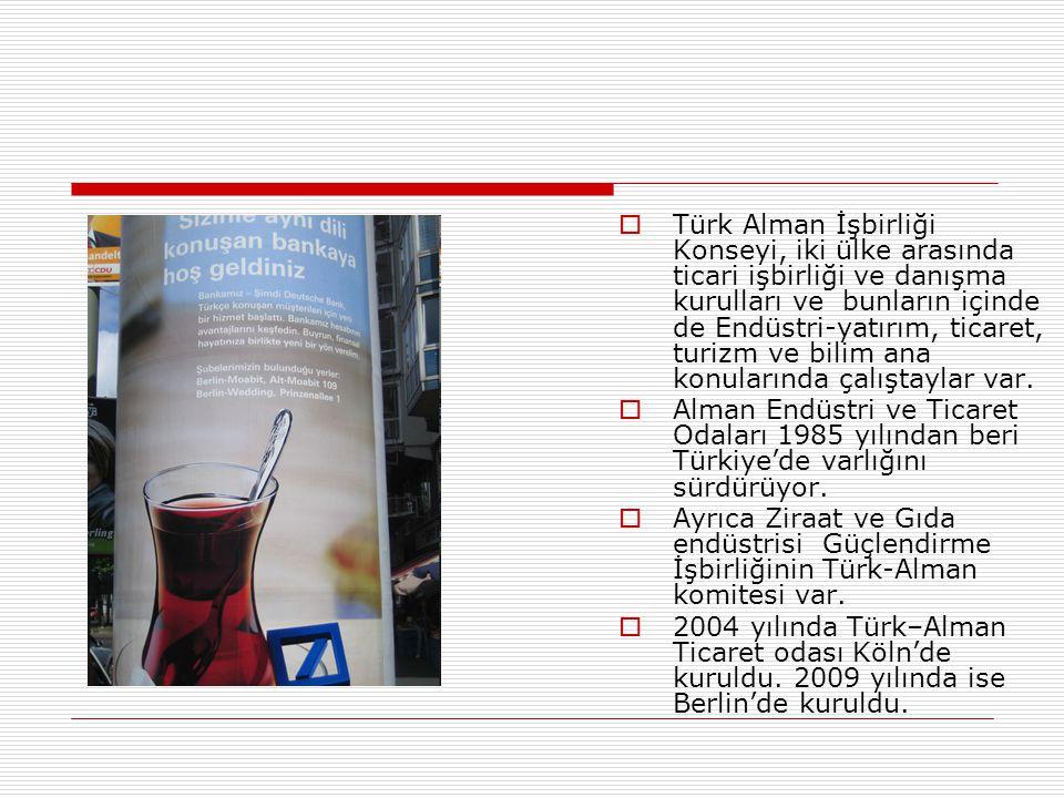  Türk Alman İşbirliği Konseyi, iki ülke arasında ticari işbirliği ve danışma kurulları ve bunların içinde de Endüstri-yatırım, ticaret, turizm ve bil