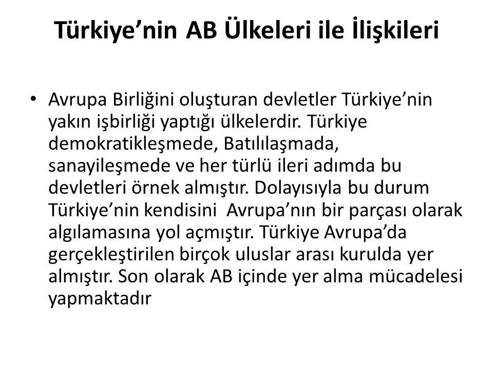 Türkiye'nin AB Ülkeleri ile İlişkileri Avrupa Birliğini oluşturan devletler Türkiye'nin yakın işbirliği yaptığı ülkelerdir. Türkiye demokratikleşmede,