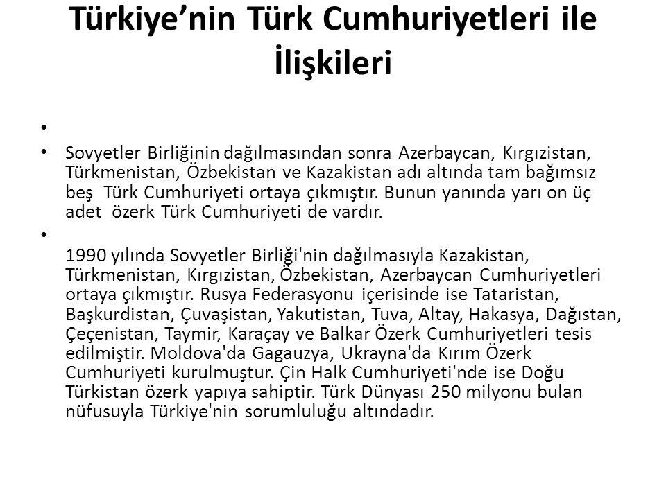 Türkiye'nin Türk Cumhuriyetleri ile İlişkileri Sovyetler Birliğinin dağılmasından sonra Azerbaycan, Kırgızistan, Türkmenistan, Özbekistan ve Kazakista
