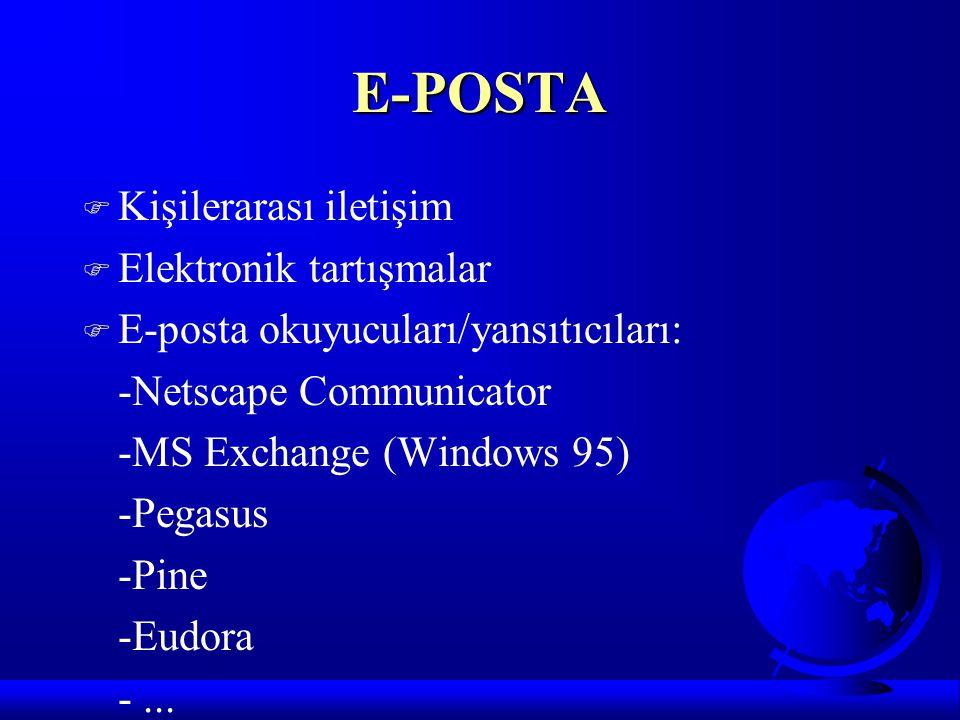 E-POSTA F Kişilerarası iletişim F Elektronik tartışmalar F E-posta okuyucuları/yansıtıcıları: -Netscape Communicator -MS Exchange (Windows 95) -Pegasu