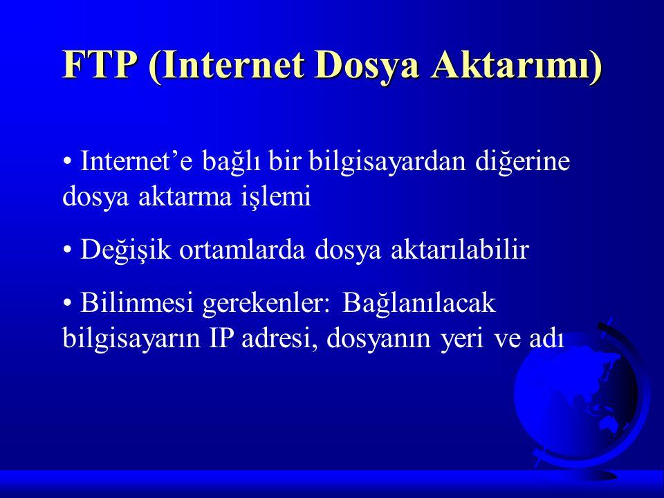 FTP (Internet Dosya Aktarımı) Internet'e bağlı bir bilgisayardan diğerine dosya aktarma işlemi Değişik ortamlarda dosya aktarılabilir Bilinmesi gereke