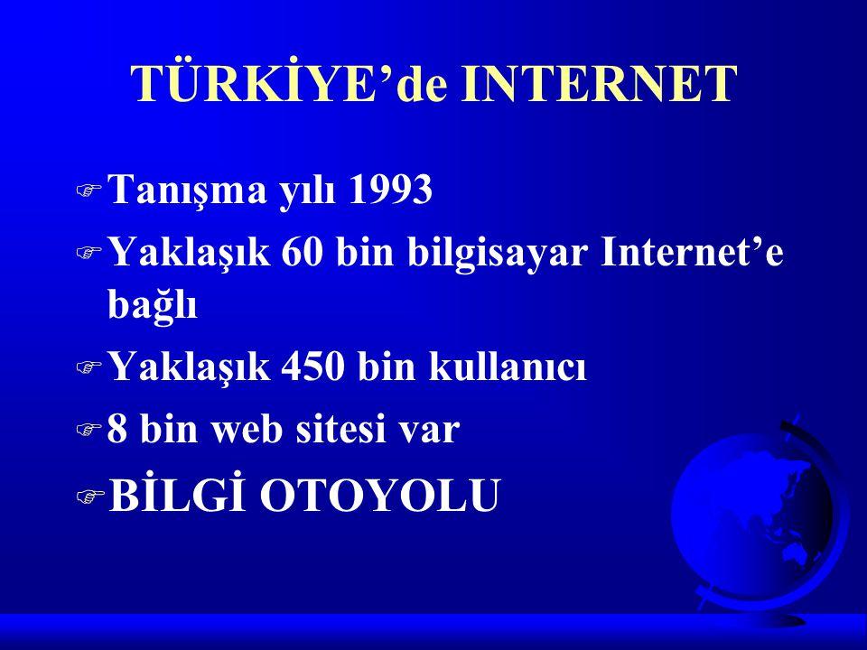TÜRKİYE'de INTERNET F Tanışma yılı 1993 F Yaklaşık 60 bin bilgisayar Internet'e bağlı F Yaklaşık 450 bin kullanıcı F 8 bin web sitesi var F BİLGİ OTOY