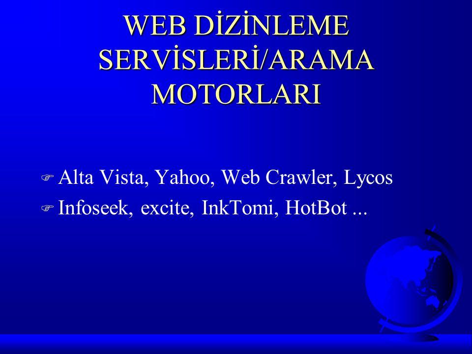 WEB DİZİNLEME SERVİSLERİ/ARAMA MOTORLARI F Alta Vista, Yahoo, Web Crawler, Lycos F Infoseek, excite, InkTomi, HotBot...