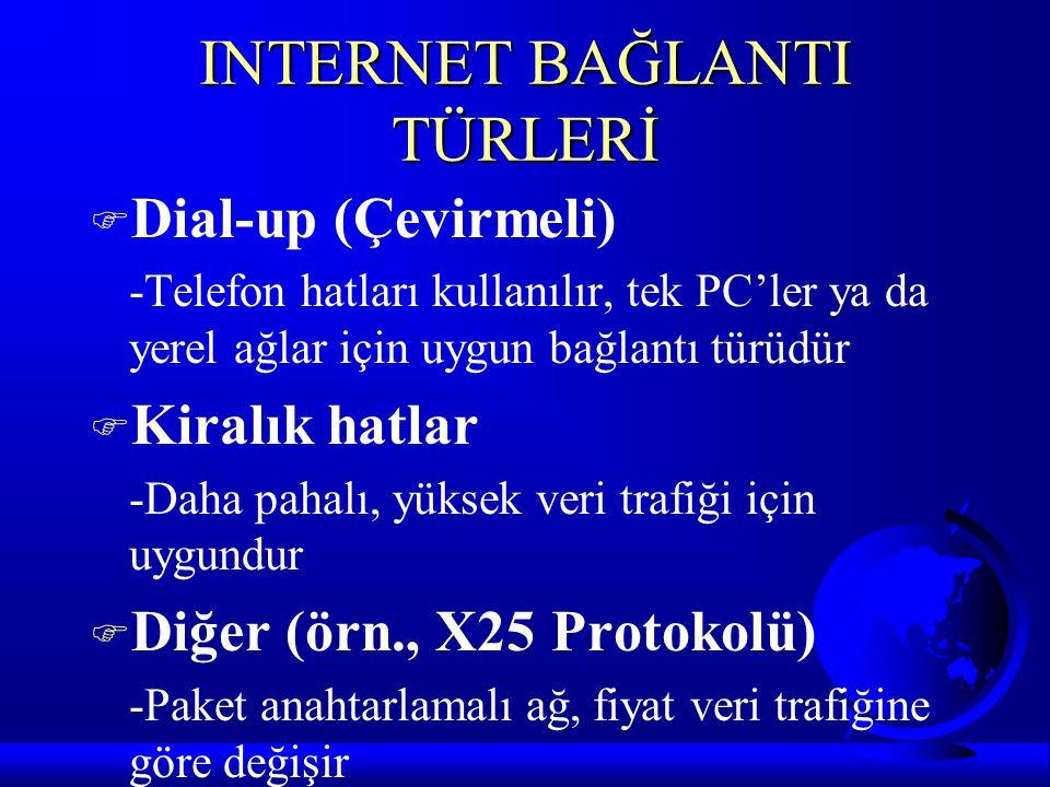 INTERNET BAĞLANTI TÜRLERİ F Dial-up (Çevirmeli) -Telefon hatları kullanılır, tek PC'ler ya da yerel ağlar için uygun bağlantı türüdür F Kiralık hatlar