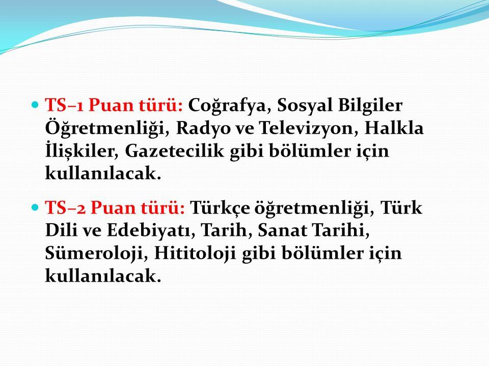 TS–1 Puan türü: Coğrafya, Sosyal Bilgiler Öğretmenliği, Radyo ve Televizyon, Halkla İlişkiler, Gazetecilik gibi bölümler için kullanılacak. TS–2 Puan