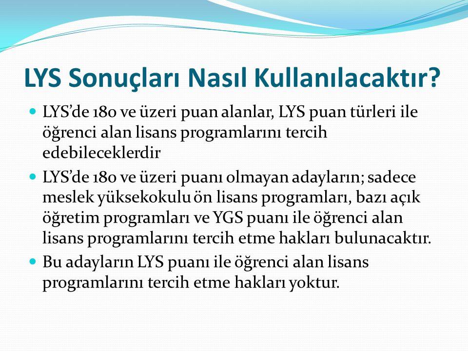LYS Sonuçları Nasıl Kullanılacaktır? LYS'de 180 ve üzeri puan alanlar, LYS puan türleri ile öğrenci alan lisans programlarını tercih edebileceklerdir