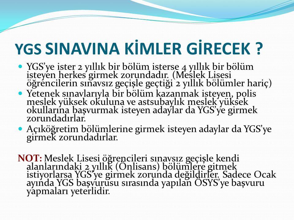 YGS'DE HANGİ TESTLER YER ALACAKTIR .