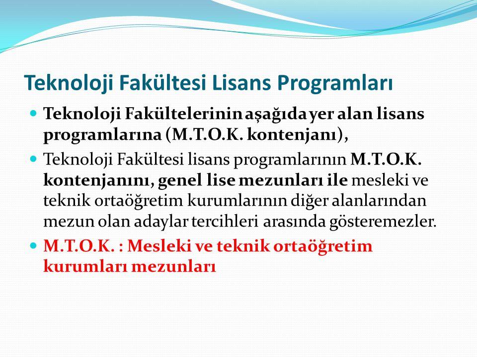 Teknoloji Fakültesi Lisans Programları Teknoloji Fakültelerinin aşağıda yer alan lisans programlarına (M.T.O.K. kontenjanı), Teknoloji Fakültesi lisan