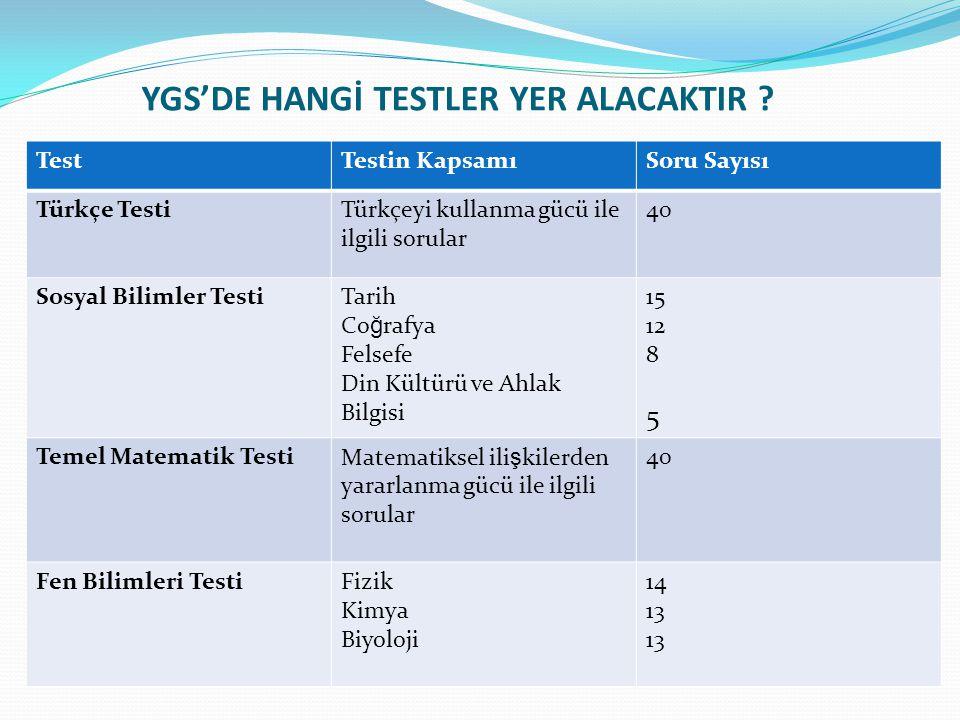 YGS'DE HANGİ TESTLER YER ALACAKTIR ? TestTestin KapsamıSoru Sayısı Türkçe TestiTürkçeyi kullanma gücü ile ilgili sorular 40 Sosyal Bilimler TestiTarih