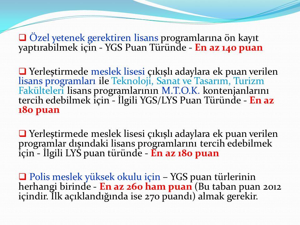  Özel yetenek gerektiren lisans programlarına ön kayıt yaptırabilmek için - YGS Puan Türünde - En az 140 puan  Yerleştirmede meslek lisesi çıkışlı a