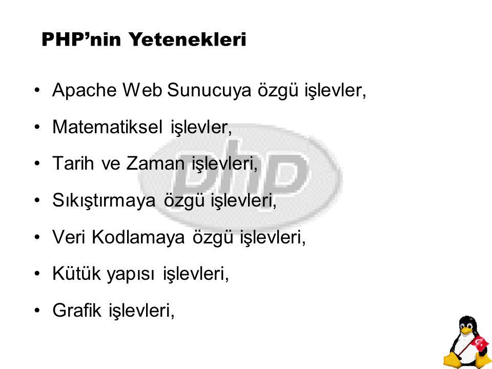 PHP'nin Yetenekleri Apache Web Sunucuya özgü işlevler, Matematiksel işlevler, Tarih ve Zaman işlevleri, Sıkıştırmaya özgü işlevleri, Veri Kodlamaya öz