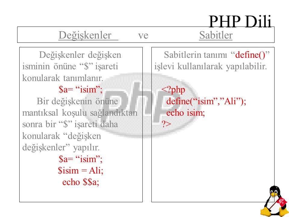 """PHP Dili Değişkenler değişken isminin önüne """"$"""" işareti konularak tanımlanır. $a= """"isim""""; Bir değişkenin önüne mantıksal koşulu sağlandıktan sonra bir"""