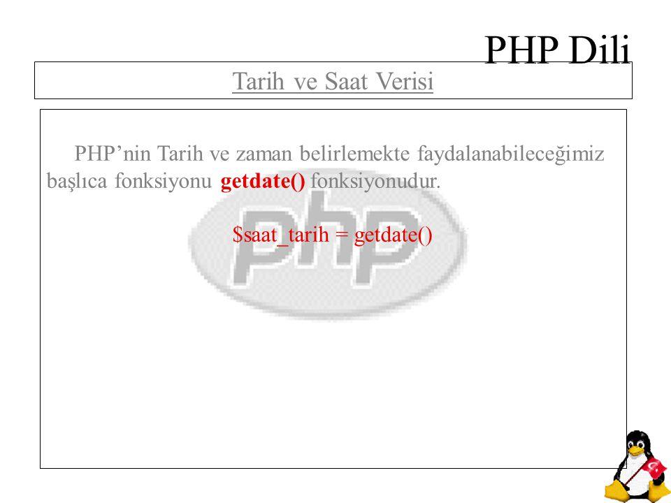 PHP Dili PHP'nin Tarih ve zaman belirlemekte faydalanabileceğimiz başlıca fonksiyonu getdate() fonksiyonudur. $saat_tarih = getdate() Tarih ve Saat Ve