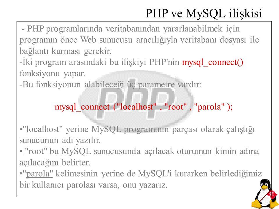 - PHP programlarında veritabanından yararlanabilmek için programın önce Web sunucusu aracılığıyla veritabanı dosyası ile bağlantı kurması gerekir. -İk