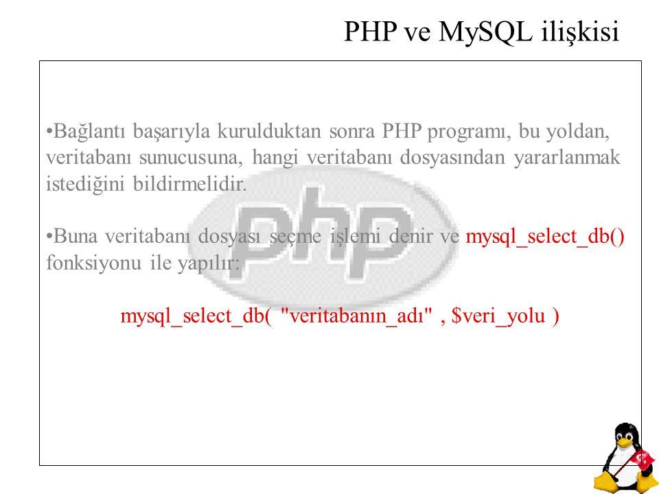 Bağlantı başarıyla kurulduktan sonra PHP programı, bu yoldan, veritabanı sunucusuna, hangi veritabanı dosyasından yararlanmak istediğini bildirmelidir