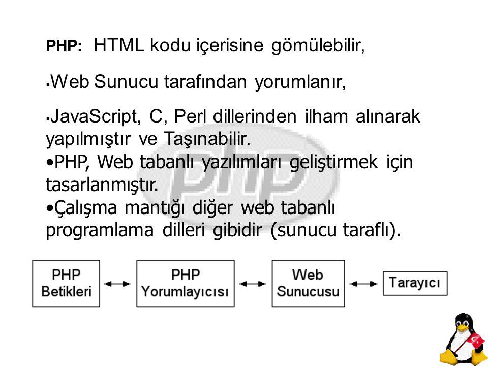 Burada PHP, HTML kodu içerisinde etiketleri arasına gömülmüştür.