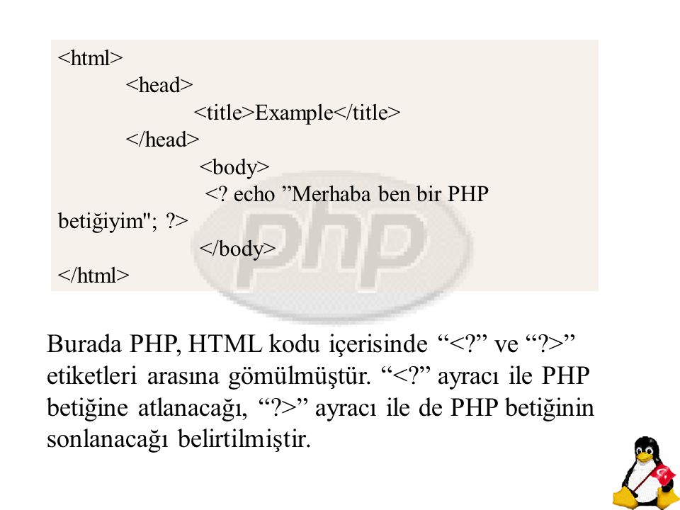 """Burada PHP, HTML kodu içerisinde """" """" etiketleri arasına gömülmüştür. """" """" ayracı ile de PHP betiğinin sonlanacağı belirtilmiştir. Example"""