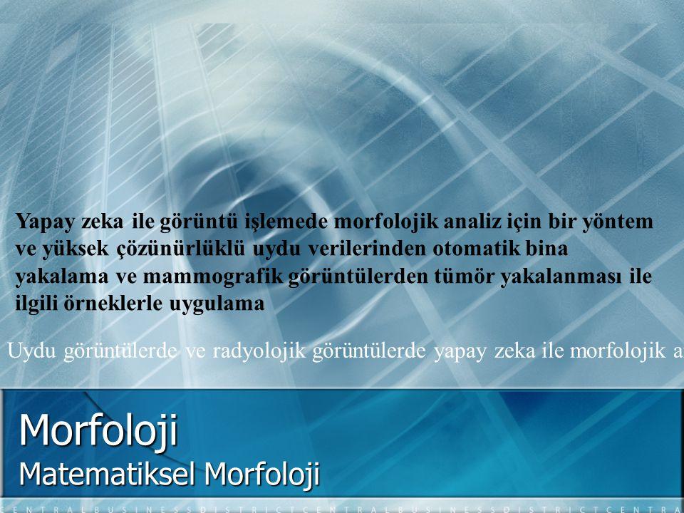 Morfoloji Matematiksel Morfoloji Yapay zeka ile görüntü işlemede morfolojik analiz için bir yöntem ve yüksek çözünürlüklü uydu verilerinden otomatik b