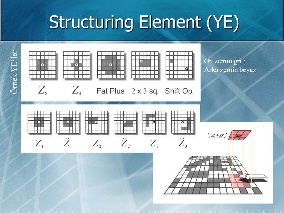 Structuring Element (YE) Örnek YE'ler Ön zemin gri ; Arka zemin beyaz