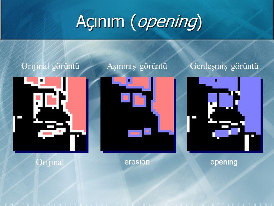 Açınım (opening) Orijinal görüntüAşınmış görüntüGenleşmiş görüntü Orijinal erosionopening