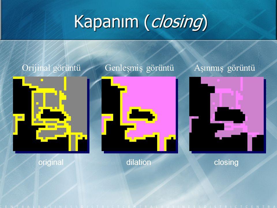 Kapanım (closing) Orijinal görüntüAşınmış görüntüGenleşmiş görüntü originaldilationclosing