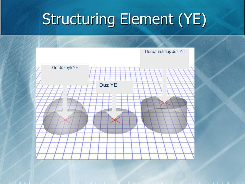Structuring Element (YE) Düz YE Gri düzeyli YE Dönütürülmüş düz YE