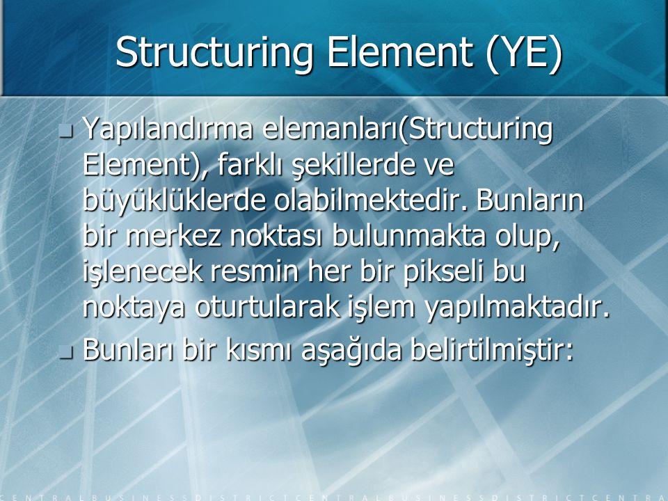 Structuring Element (YE) Yapılandırma elemanları(Structuring Element), farklı şekillerde ve büyüklüklerde olabilmektedir. Bunların bir merkez noktası