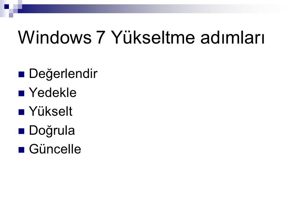 Windows 7 Yükseltme adımları Değerlendir Yedekle Yükselt Doğrula Güncelle