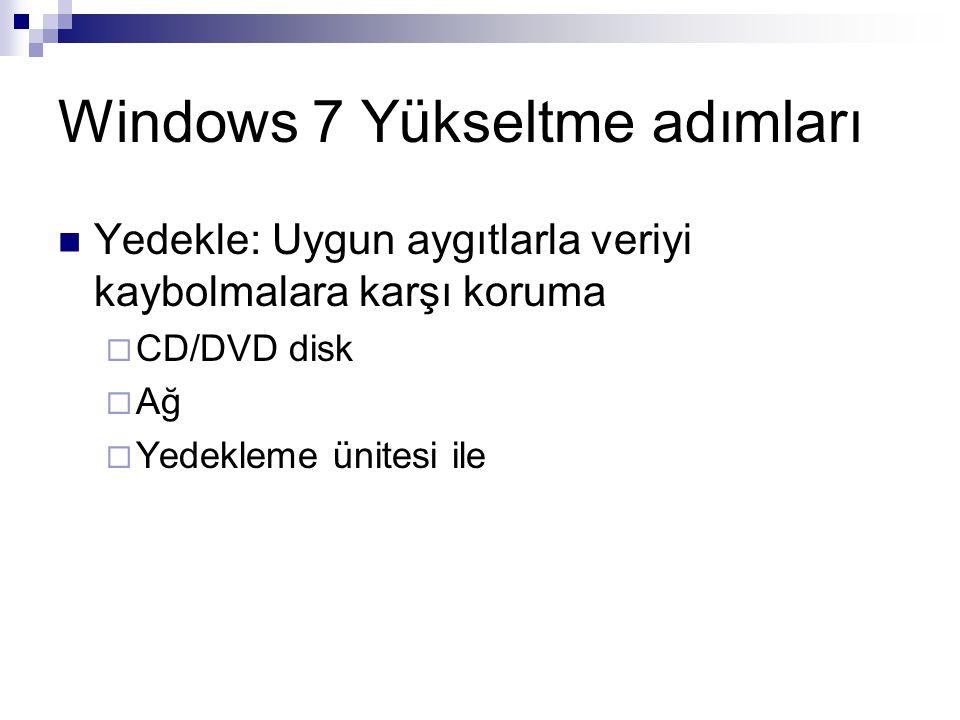 Windows 7 Yükseltme adımları Yedekle: Uygun aygıtlarla veriyi kaybolmalara karşı koruma  CD/DVD disk  Ağ  Yedekleme ünitesi ile