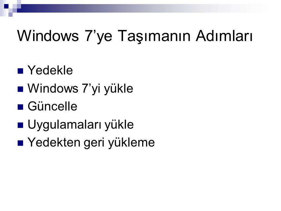 Windows 7'ye Taşımanın Adımları Yedekle Windows 7'yi yükle Güncelle Uygulamaları yükle Yedekten geri yükleme
