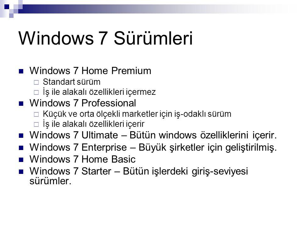 Windows 7 Sürümleri Windows 7 Home Premium  Standart sürüm  İş ile alakalı özellikleri içermez Windows 7 Professional  Küçük ve orta ölçekli market