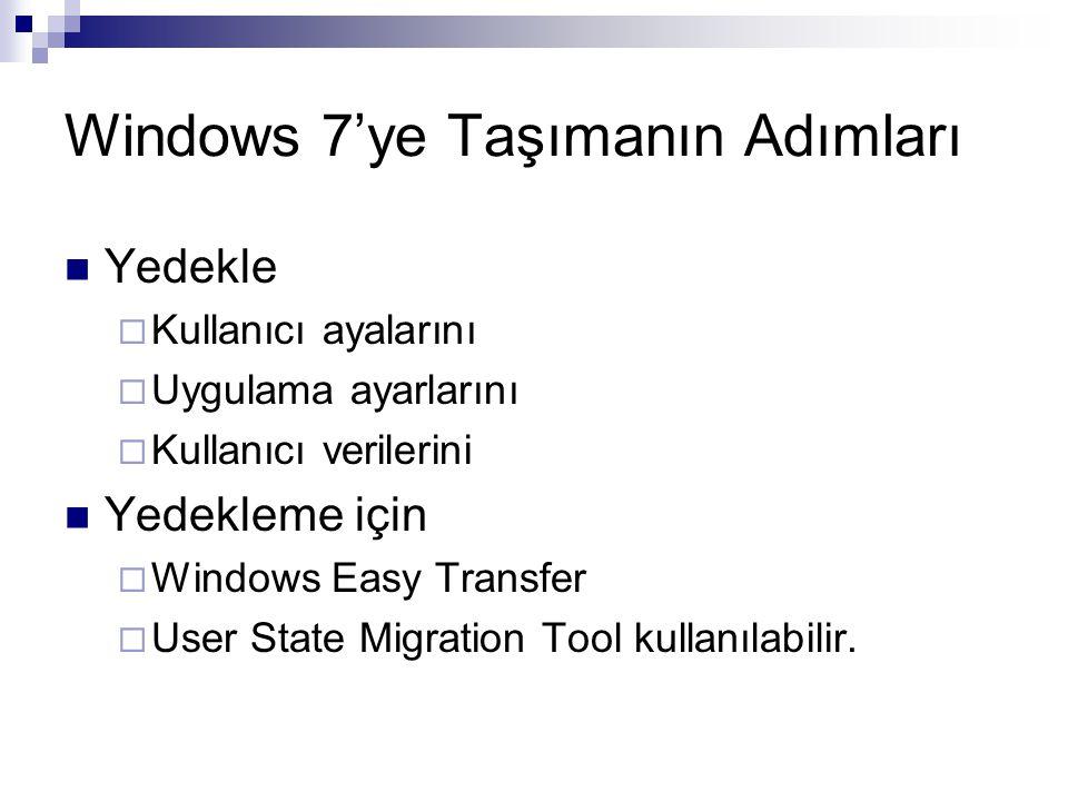 Windows 7'ye Taşımanın Adımları Yedekle  Kullanıcı ayalarını  Uygulama ayarlarını  Kullanıcı verilerini Yedekleme için  Windows Easy Transfer  Us