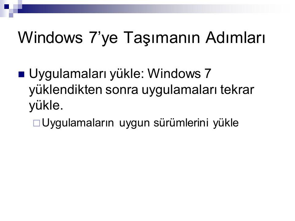 Windows 7'ye Taşımanın Adımları Uygulamaları yükle: Windows 7 yüklendikten sonra uygulamaları tekrar yükle.  Uygulamaların uygun sürümlerini yükle
