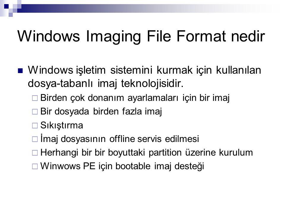 Windows Imaging File Format nedir Windows işletim sistemini kurmak için kullanılan dosya-tabanlı imaj teknolojisidir.  Birden çok donanım ayarlamalar