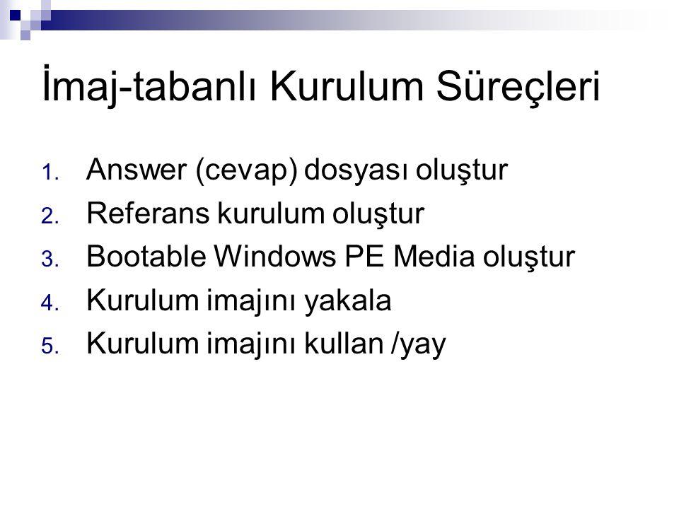 İmaj-tabanlı Kurulum Süreçleri 1. Answer (cevap) dosyası oluştur 2. Referans kurulum oluştur 3. Bootable Windows PE Media oluştur 4. Kurulum imajını y