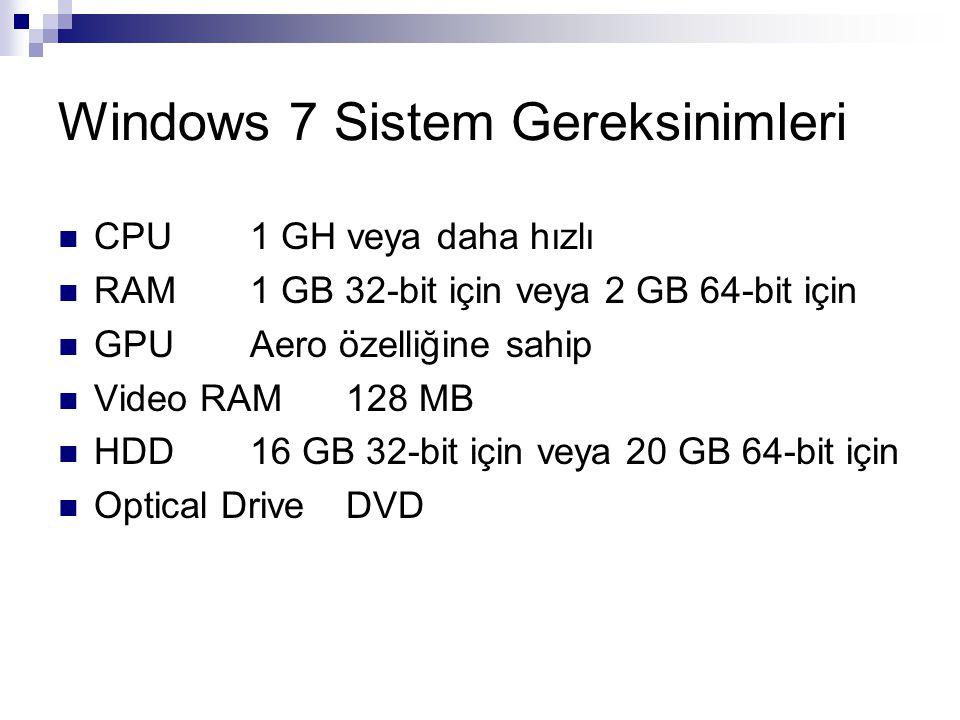 Windows 7 Sistem Gereksinimleri CPU1 GH veya daha hızlı RAM1 GB 32-bit için veya 2 GB 64-bit için GPUAero özelliğine sahip Video RAM128 MB HDD16 GB 32