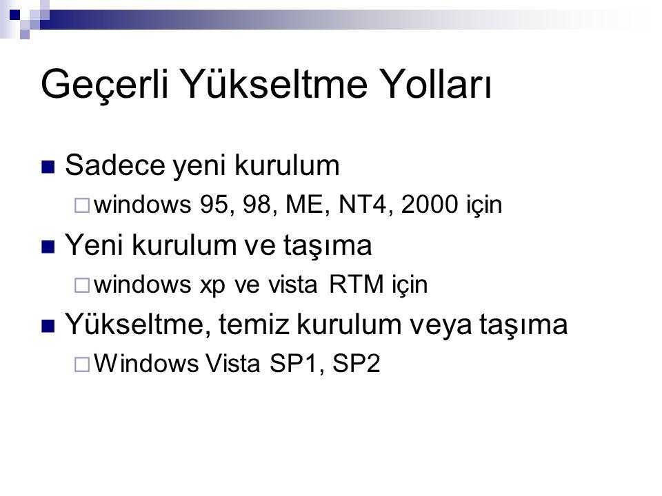 Geçerli Yükseltme Yolları Sadece yeni kurulum  windows 95, 98, ME, NT4, 2000 için Yeni kurulum ve taşıma  windows xp ve vista RTM için Yükseltme, te