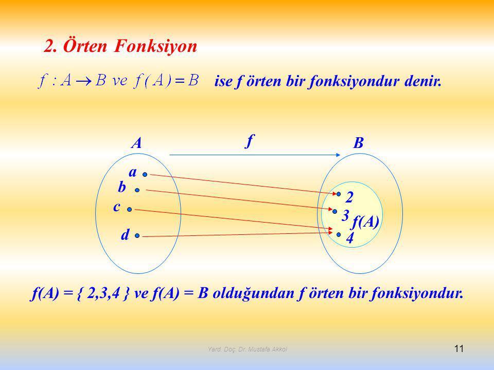 2. Örten Fonksiyon ise f örten bir fonksiyondur denir. a b c d 2 3 4 AB f f(A) f(A) = { 2,3,4 } ve f(A) = B olduğundan f örten bir fonksiyondur. 11 Ya