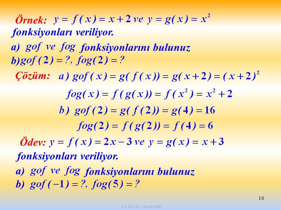 Yrd. Doç. Dr. Mustafa Akkol 16 Örnek: fonksiyonları veriliyor. fonksiyonlarını bulunuz a) b) Çözüm: Ödev: fonksiyonları veriliyor. fonksiyonlarını bul