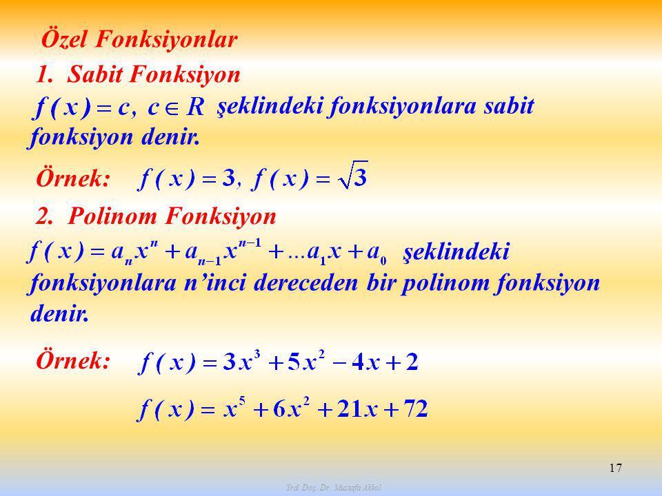Yrd. Doç. Dr. Mustafa Akkol 17 Özel Fonksiyonlar 1. Sabit Fonksiyon şeklindeki fonksiyonlara sabit fonksiyon denir. 2. Polinom Fonksiyon şeklindeki fo