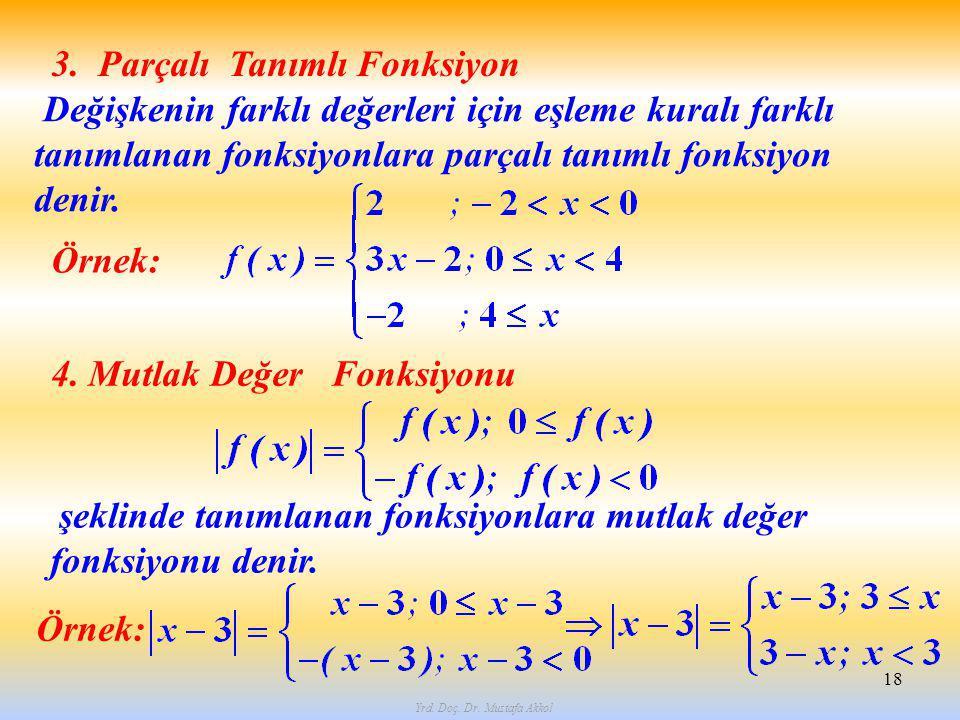 Yrd. Doç. Dr. Mustafa Akkol 18 3. Parçalı Tanımlı Fonksiyon Değişkenin farklı değerleri için eşleme kuralı farklı tanımlanan fonksiyonlara parçalı tan