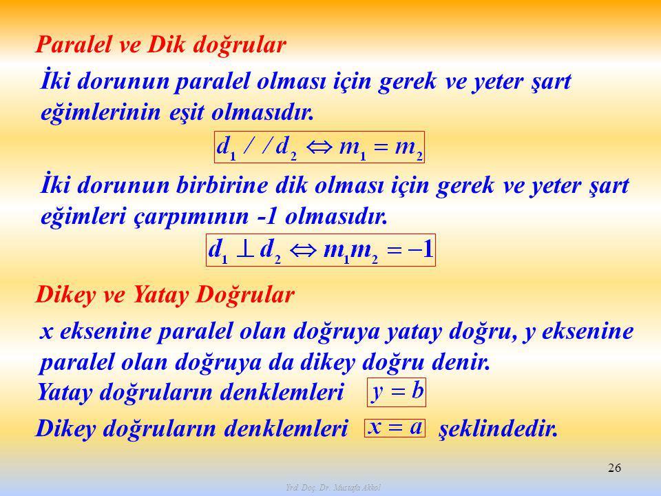 Yrd. Doç. Dr. Mustafa Akkol 26 Paralel ve Dik doğrular İki dorunun paralel olması için gerek ve yeter şart eğimlerinin eşit olmasıdır. Dikey ve Yatay