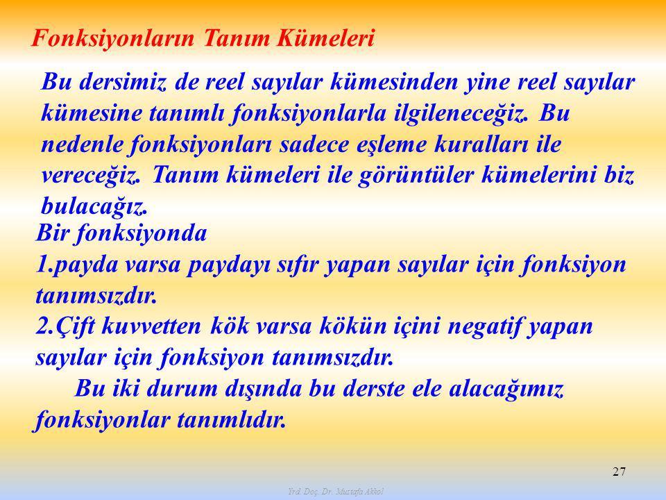 Yrd. Doç. Dr. Mustafa Akkol 27 Fonksiyonların Tanım Kümeleri Bu dersimiz de reel sayılar kümesinden yine reel sayılar kümesine tanımlı fonksiyonlarla