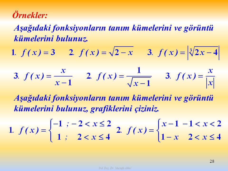 Yrd. Doç. Dr. Mustafa Akkol 28 Örnekler: Aşağıdaki fonksiyonların tanım kümelerini ve görüntü kümelerini bulunuz. Aşağıdaki fonksiyonların tanım kümel