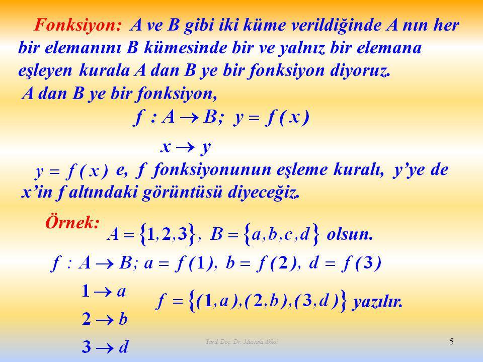 Yard. Doç. Dr. Mustafa Akkol 5 Fonksiyon: A ve B gibi iki küme verildiğinde A nın her bir elemanını B kümesinde bir ve yalnız bir elemana eşleyen kura