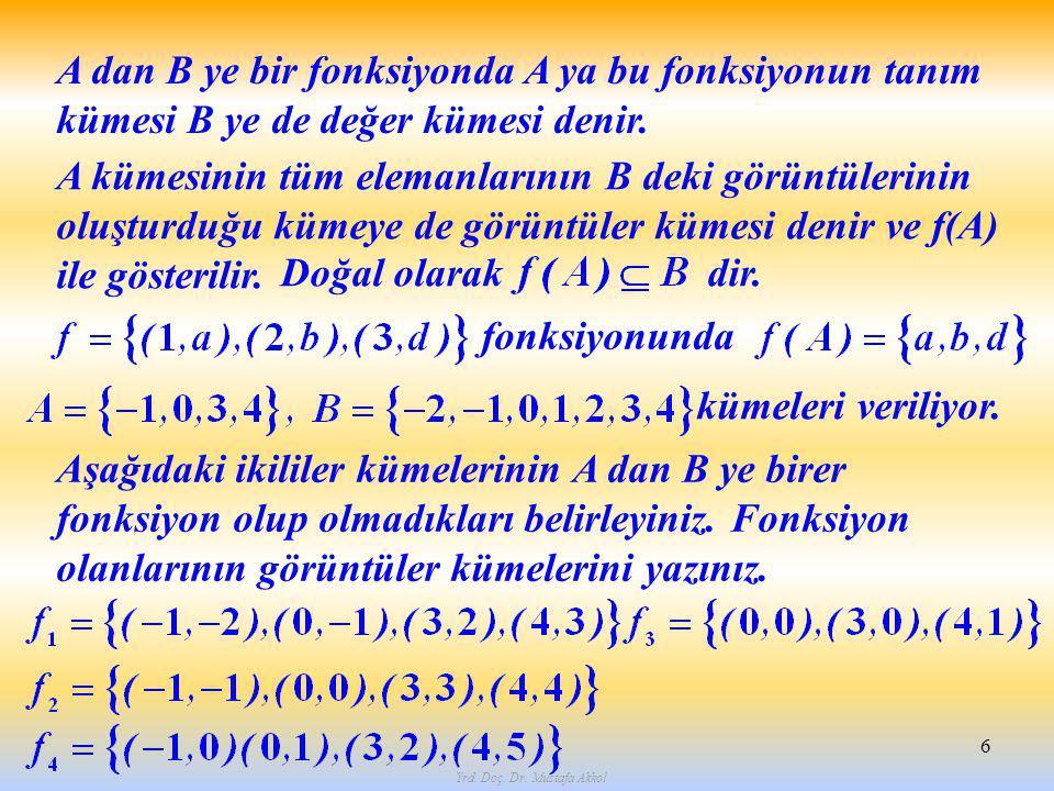 Yrd. Doç. Dr. Mustafa Akkol 6 A dan B ye bir fonksiyonda A ya bu fonksiyonun tanım kümesi B ye de değer kümesi denir. A kümesinin tüm elemanlarının B