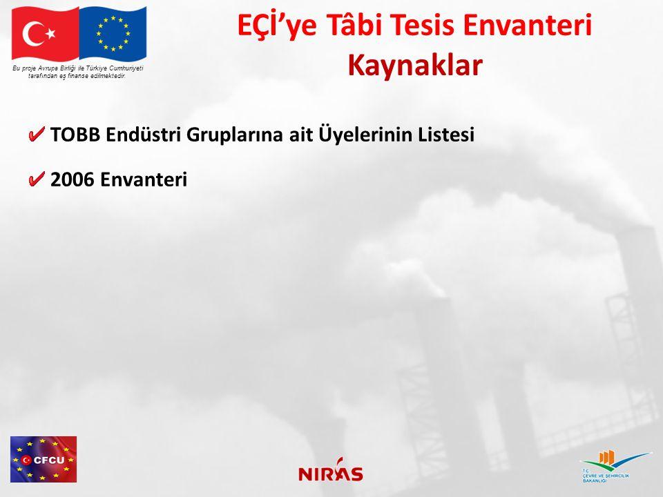 EÇİ'ye Tâbi Tesis Envanteri Kaynaklar TOBB Endüstri Gruplarına ait Üyelerinin Listesi 2006 Envanteri Bu proje Avrupa Birliği ile Türkiye Cumhuriyeti tarafından eş finanse edilmektedir.