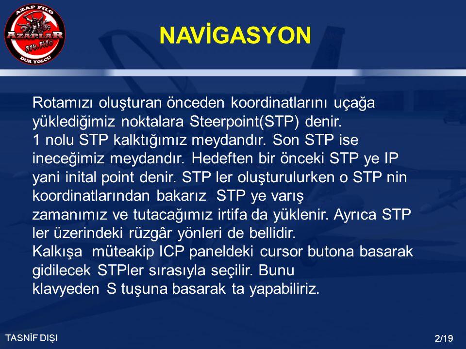 NAVİGASYON TASNİF DIŞI 2/19 Rotamızı oluşturan önceden koordinatlarını uçağa yüklediğimiz noktalara Steerpoint(STP) denir.