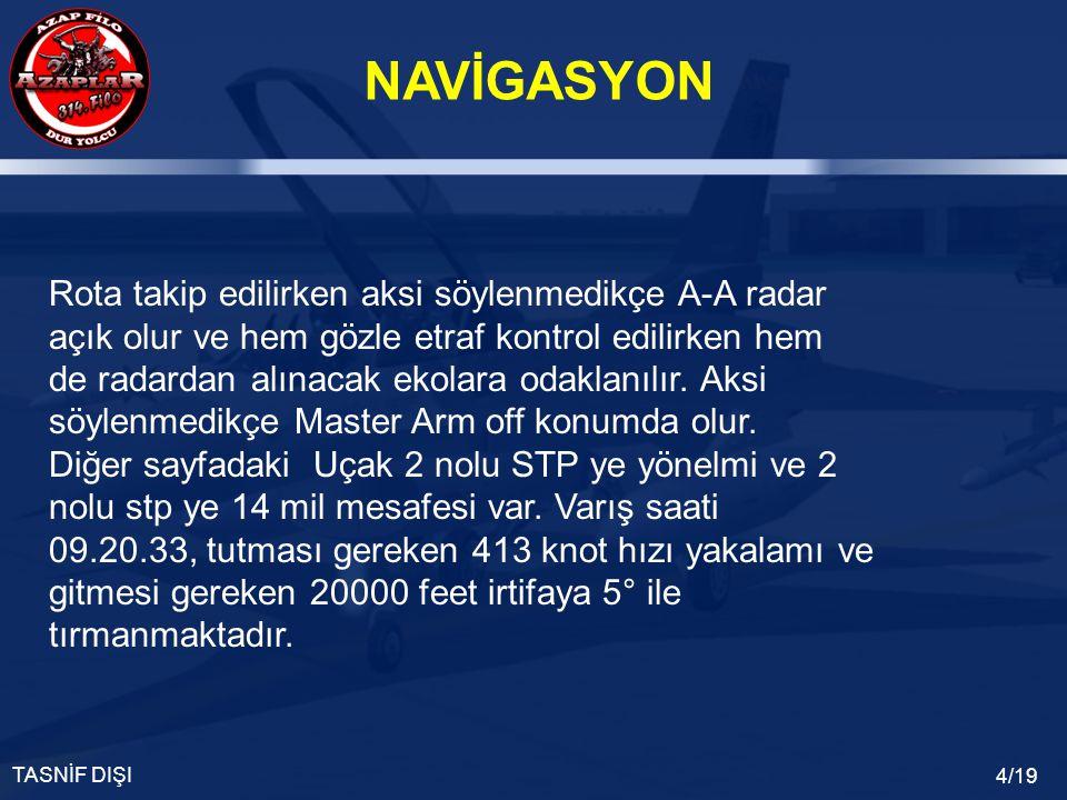 NAVİGASYON TASNİF DIŞI 4/19 Rota takip edilirken aksi söylenmedikçe A-A radar açık olur ve hem gözle etraf kontrol edilirken hem de radardan alınacak ekolara odaklanılır.